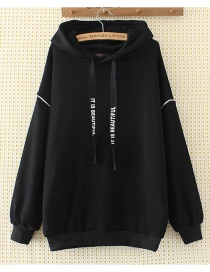 Fashion Black Pure Color Decorated Hoodie