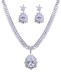 Elegant Silver Color Oval Shape Diamond Decorated Jewelry Sets