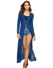 Sexy Blue Pure Color Decorated Long Knitting Cardigan