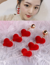 Lovely Red Heart Shape Decorated Earrings
