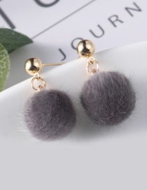 Lovely Gray Fuzzy Ball Decorated Pom Earrings