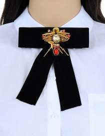 Elegant Black Bee Shape Decorated Pure Color Brooch