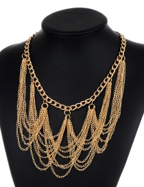 Elegant Gold Color Chain Decorated Necklace