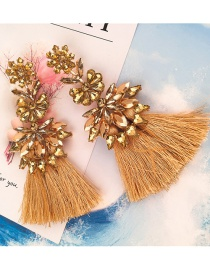 Elegant Yellow Pure Color Decorated Tassel Earrings