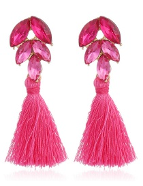 Vintage Plum-red Oval Shape Diamond Decorated Tassel Earrings