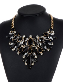 Fashion Black Water Drop Shape Decorated Necklace