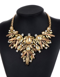 Fashion Champagne Water Drop Shape Decorated Necklace