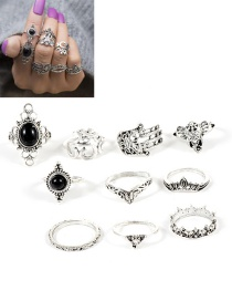 Fashion Silver Color Flower Shape Decorated Ring ( 10 Pcs )