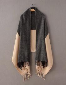 Fashion Black+beige Tassel Decorated Scarf
