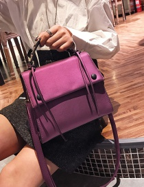 Fashion Purple Square Shape Decorated Shoulder Bag