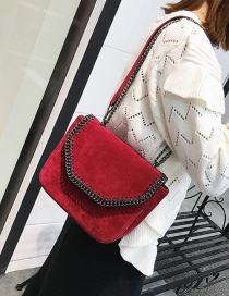 Fashion Red Chain Decorated Shoulder Bag