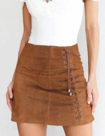 Fashion Light Coffee Bandage Decorated Skirt