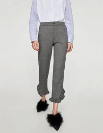 Fashion Gray Pure Color Decorated Trousers
