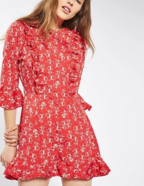 Fashion Red Flower Pattern Decorated Dress