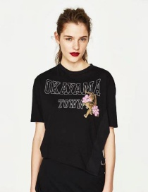 Fashion Black Letter Pattern Decorated Shirt