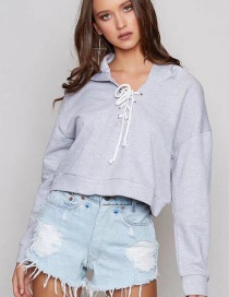 Fashion Gray Lacing Decorated Sweater