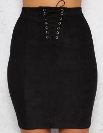 Fashion Black Lacing Decorated Skirt