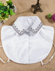 Fashion White Flower Pattern Decorated Fake Collar
