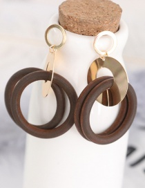 Fashion Coffee Circular Ring Shape Decorated Earrings