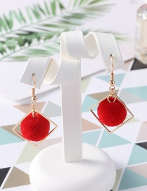 Fashion Red Pom Ball Shape Decorated Earrings