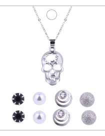Fashion Silver Colour+black Skull Shape Decorated Jewelry Set ( 9 Pcs)