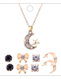 Fashion Gold Colour Moon&bowknot Shape Decorated Jewelry Set (9pcs)