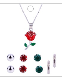 Fashion Silver Colour+red Flower Shape Decorated Jewelry Set ( 9pcs)