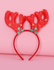 Lovely Red+green Antlers Decorated Chrismas Hair Clip