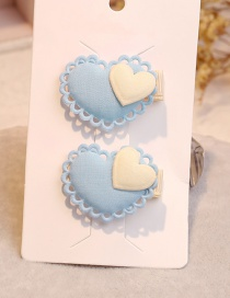 Fashion Light Blue Heart Shape Decorated Hair Clip (1pair)