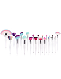 Fashion Multi-color Sector Shape Decorated Makeup Brush (22 Pcs)