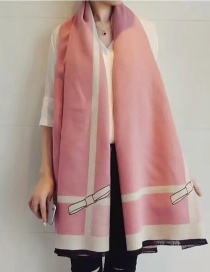 Fashion Pink Bowknot Pattern Decorated Scarf