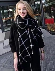 Fashion Black Grid Pattern Decorated Scarf