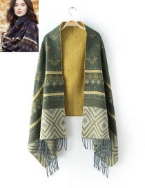 Fashion Olive Green Tassel Decorated Scarf