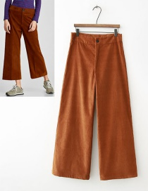 Fashion Brown Pure Color Decorated Trousers