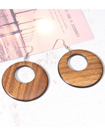 Fashion Coffee Round Shape Decorated Hollow Out Earrings