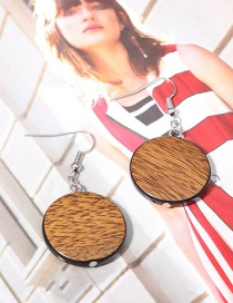 Fashion Coffee Round Shape Decorated Simple Earrings