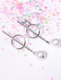 Fashion Silver Color Circular Ring&pearl Decorated Asymmetric Earrings