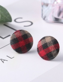 Fashion Red Grid Pattern Decorated Earrings