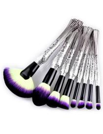 Trendy Yellow+purple Sector Shape Decorated Makeup Brush(8pcs)