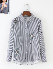Fashion Beige+white Stripe Pattern Decorated Embroidery Shirt