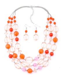 Vintage Orange Beads Decorated Multi-layer Jewelry Sets