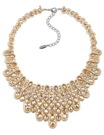 Vintage Champagne Oval Shape Diamond Decorated Hand-woven Necklace