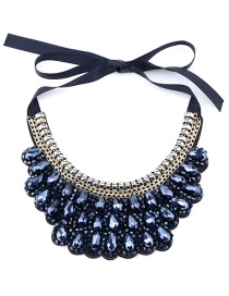 Vintage Black Pure Color Decorated Hand-woven Necklace