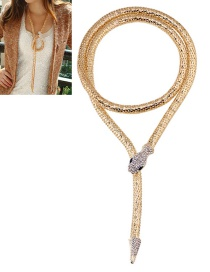 Vintage Gold Color Snake Shape Design Long Necklace