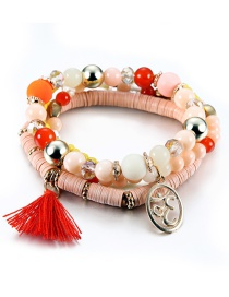 Vintage Light Orange Circular Ring&tassel Decorated Beads Bracelet
