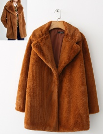 Fashion Dark Coffee Pure Color Decorated Simple Coat