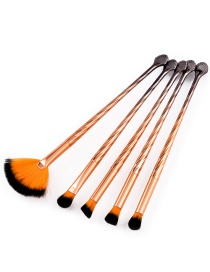 Fashion Orange Sector Shape Decorated Cosmetic Brush(5pcs)