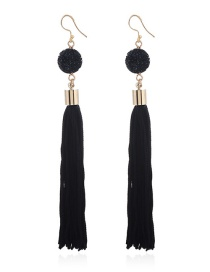 Fashion Black Tassel Pendant Decorated Long Earrings