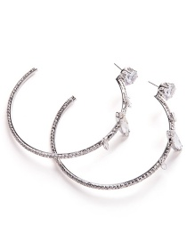 Exaggerated Silver Color Diamond Decorated Circular Ring Earrings