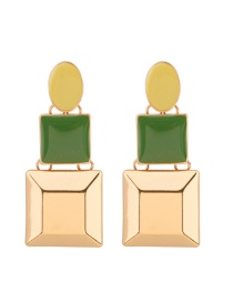 Fashion Green Square Shape Design Long Earrings
